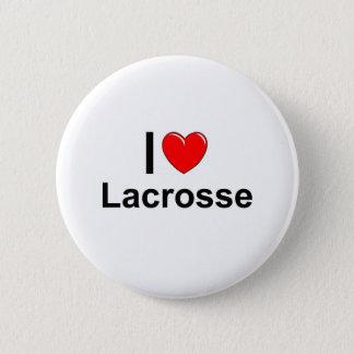 I Love Heart Lacrosse 6 Cm Round Badge
