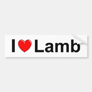 I Love Heart Lamb Bumper Sticker
