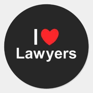 I Love Heart Lawyers Classic Round Sticker