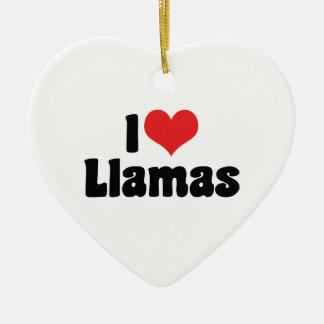 I Love Heart Llamas Ceramic Heart Decoration