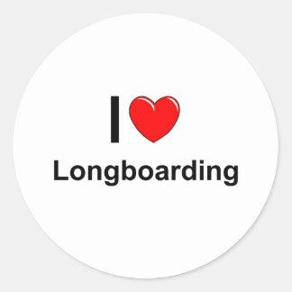 I Love Heart Longboarding Classic Round Sticker