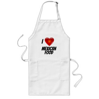 I Love Heart Mexican Food Long Apron