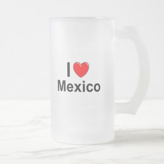 I Love Heart Mexico Frosted Glass Beer Mug