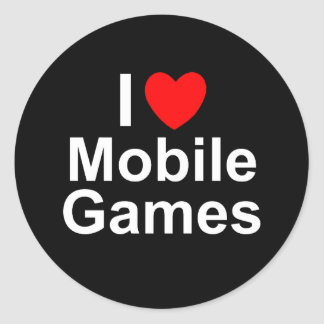 I Love Heart Mobile Games Classic Round Sticker