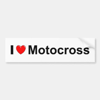 I Love Heart Motocross Bumper Sticker