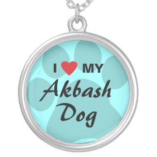 I Love (Heart) My Akbash Dog Round Pendant Necklace