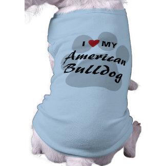 I Love (Heart) My American Bulldog Sleeveless Dog Shirt