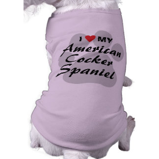 I Love (Heart) My American Cocker Spaniel Sleeveless Dog Shirt