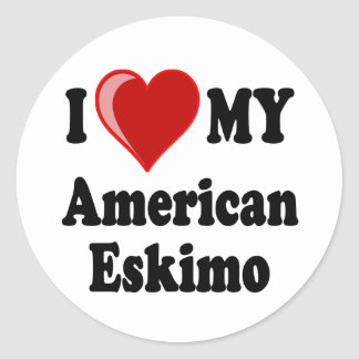 I Love Heart My American Eskimo Dog Stickers