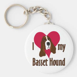 I Love [heart] my Basset Hound Key Ring