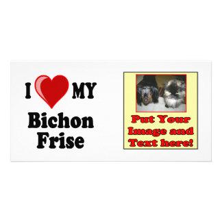 I Love (Heart) My Bichon Frise Dog Photo Card