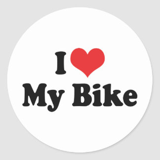 I Love Heart My Bike - Bicycle Motorcycle Lover Round Sticker