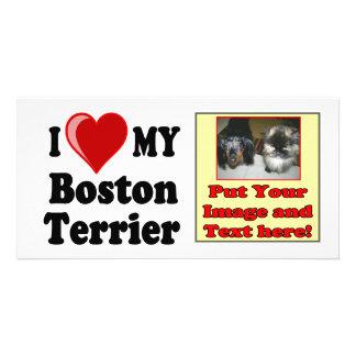 I Love Heart My Boston Terrier Dog Photo Cards