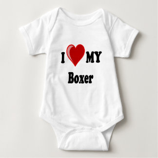 I Love (Heart) My Boxer Dog Baby Bodysuit