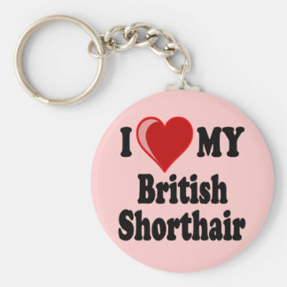 I Love (Heart) My British Shorthair Cat Basic Round Button Key Ring