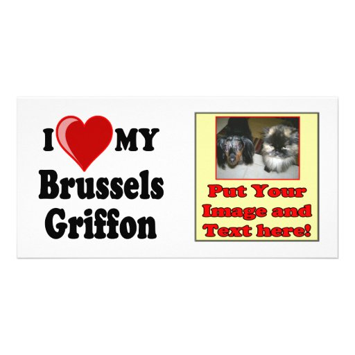 I Love (Heart) My Brussels Griffon Dog Rack Card Personalized Photo Card