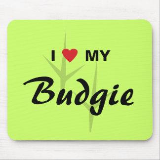 I Love (Heart) My Budgie Bird Tracks Design Mouse Pad