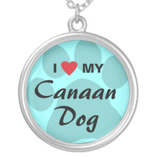 I Love (Heart) My Canaan Dog Round Pendant Necklace