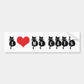 I Love Heart My Cats - Cat Lover Bumper Sticker