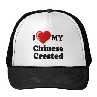 I Love (Heart) My Chinese Crested Dog Trucker Hat