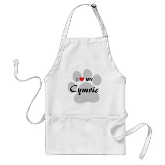 I Love (Heart) My Cymric Cat Pawprint Design Adult Apron