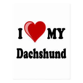 I Love (Heart) My Dachshund Dog Postcards