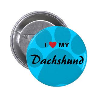 I Love Heart My Dachshund Pawprint Button