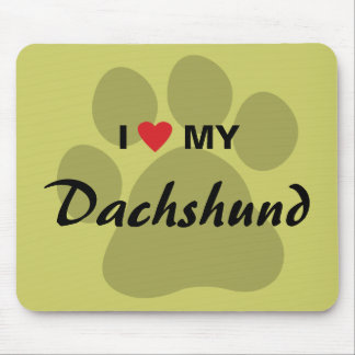 I Love (Heart) My Dachshund Pawprint Mouse Pad
