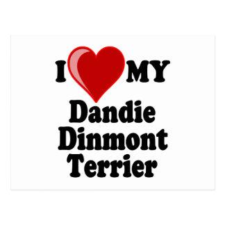 I Love (Heart) My Dandie Dinmont Terrier Dog Postcard