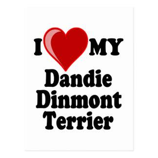 I Love Heart My Dandie Dinmont Terrier Dog Postcard