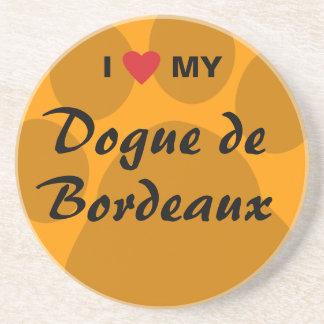 I Love (Heart) My Dogue de Bordeaux Beverage Coaster