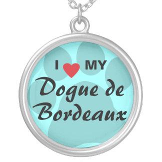 I Love (Heart) My Dogue de Bordeaux Round Pendant Necklace