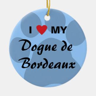 I Love (Heart) My Dogue de Bordeaux Round Ceramic Decoration