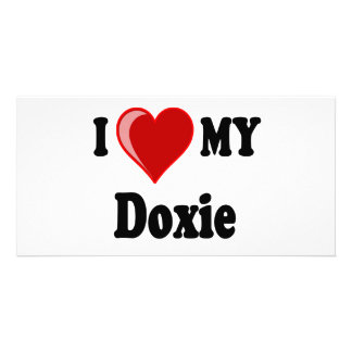 I Love (Heart) My Doxie Dog Photo Card Template