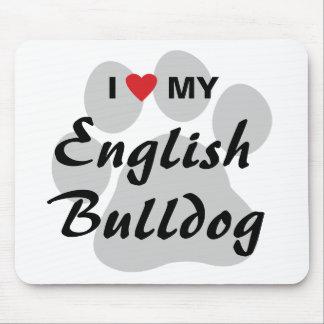 I Love (Heart) My English Bulldog Pawprint Mouse Pad