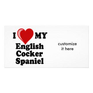 I Love (Heart) My English Cocker Spaniel Dog Personalized Photo Card