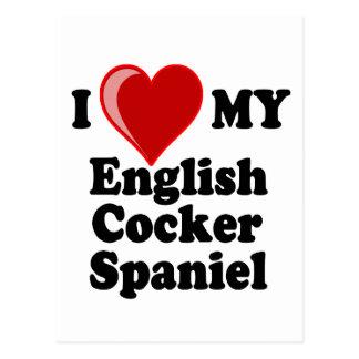 I Love (Heart) My English Cocker Spaniel Dog Postcard