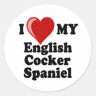 I Love (Heart) My English Cocker Spaniel Dog Stickers