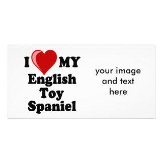 I Love (Heart) My English Toy Spaniel Dog Personalized Photo Card