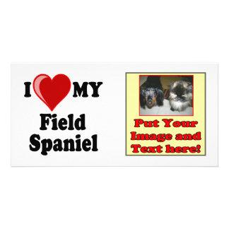 I Love Heart My Field Spaniel Dog Custom Photo Card