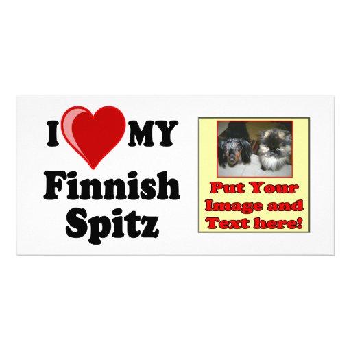 I Love (Heart) My Finnish Spitz Dog Photo Greeting Card