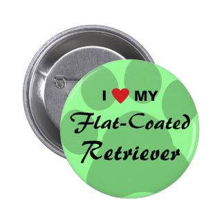 I Love Heart My Flat-Coated Retriever Pin