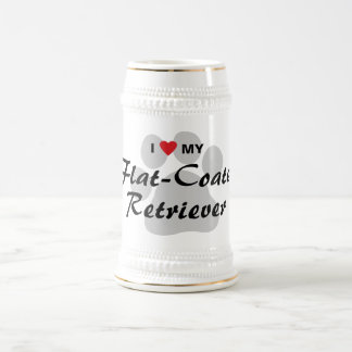 I Love (Heart) My Flat-Coated Retriever Beer Steins