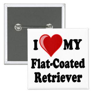 I Love (Heart) My Flat-Coated Retriever Dog Pinback Button