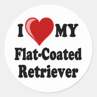 I Love (Heart) My Flat-Coated Retriever Dog Classic Round Sticker