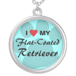 I Love (Heart) My Flat-Coated Retriever Round Pendant Necklace