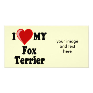 I Love (Heart) My Fox Terrier Dog Picture Card