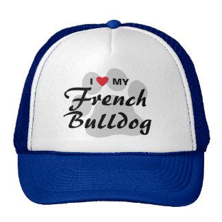 I Love (Heart) My French Bulldog Pawprint Mesh Hats