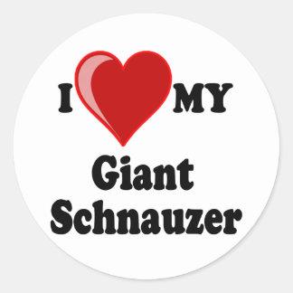 I Love (Heart) My Giant Schnauzer Dog Classic Round Sticker