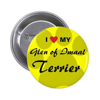 I Love Heart My Glen of Imaal Terrier Pawprint Pinback Button